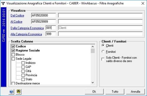 Visualizza Clienti Fornitori
