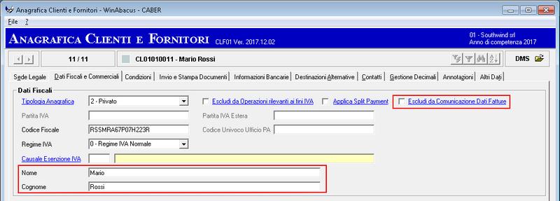 Nuovi Dati Anagrafiche Clienti e Fornitori